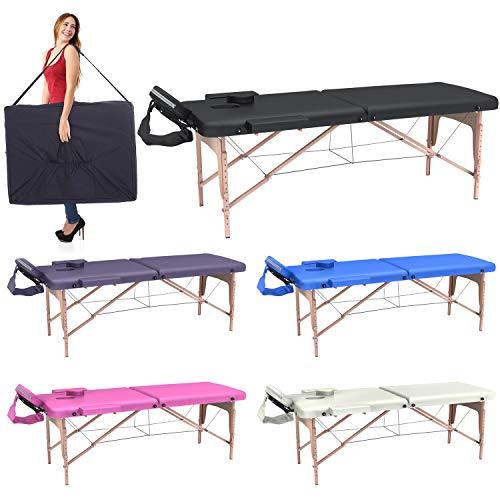 Lettino massaggio professionale 2 zone - lettino massaggi,lettino estetista fisioterapia,tattoo, in legno portatile richiudibile (nero)