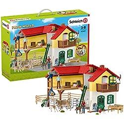 Schleich Farm World Playset Ferme avec étable et Animaux, 42407, Multicolore, Grand