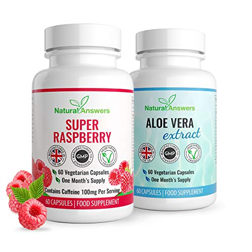 Raspberry Ketone & Aloe Vera Colon Cleanse   Detox & Weight Loss Fat Burner Combo   1 Month Supply   Vegetarian Friendly   Bloating Relief   Keto Diet   Well Known Trusted Brand Natural Answers