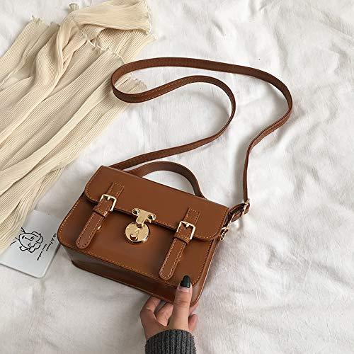 XMY Kleine Tasche weibliche Wilde Kurier Tasche Retro Schulter tragbare Arme kleine quadratische Tasche, braun -