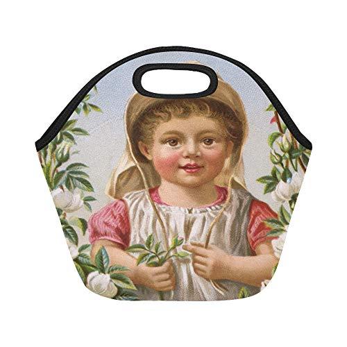 Isolierte Neopren-Lunch-Tasche Kleines Mädchen in ihrer Rose gerahmt Große, wiederverwendbare, thermisch dicke Lunch-Tragetaschen Für die Mittagspause im Freien, bei der Arbeit, im Büro oder in der Sc