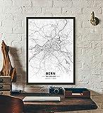 ZWXDMY Leinwand Bild,Schweiz Bern Stadtplan Schwarze Und Weiße Minimalistische Text Abstrakten Drucken Leinwand Poster Malerei Wandbild Studie Cafe Office Home Einrichtung, 50 × 70 cm
