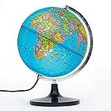 PROW® 12 pollici Illuminato Educazione dettagliata geografico Apprendimento 12 pollici diam Mappamondo Terrestre Globo Con il basamento per Bambini Illuminazione Vista notturna