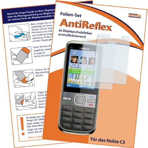 """Preisvergleich Produktbild 2 x mumbi Displayschutzfolie Nokia C5 C5-00 Displayschutz """"AntiReflex"""" antireflektierend"""