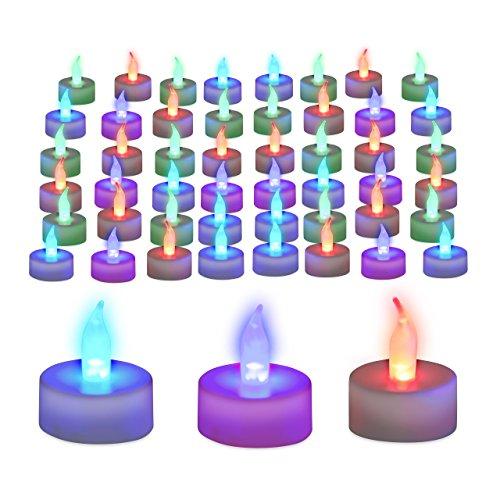 Relaxdays 48er Set LED Teelichter Farbwechsel, flammenlose Deko, Batteriebetrieben, elektronische Stimmungslichter, Bunt