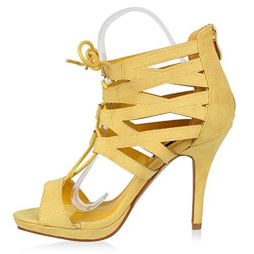 Damen Pumps Stiefeletten High Heels Schnürpumps Cut-outs Gelb Total