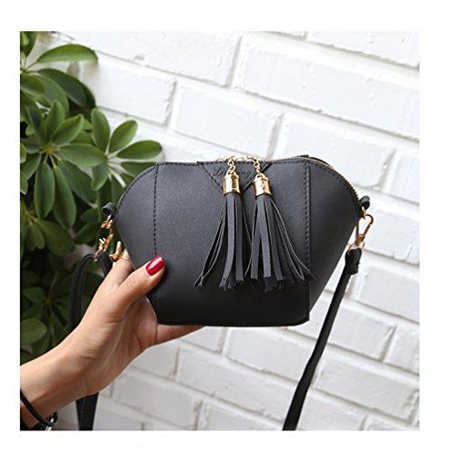 Vbiger Damen Vintage Schultertasche PU-Leder Umhängetasche Trendige Umhängetasche mit Quaste Reißverschlüsse Schwarz