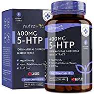 5HTP 400mg Griffonia Seed Extract - 240 Vegan Tablets - 8 Months Supply of Maximum Strength 5-HTP - Made in The UK by Nutravita