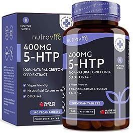 5-HTP Vegano 400mg – 240 compresse Vegane – Fornitura di 8 mesi – 5htp dall'estratto di semi di Griffonia – Prodotto nel Regno Unito da Nutravita
