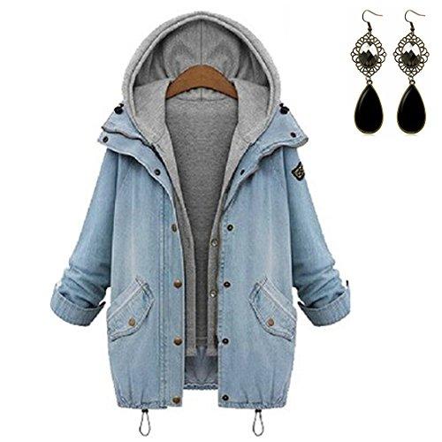 Sitengle Donna Giacca Jeans Cappuccio Giacche di Jeans Due in Uno Cappotto Parka a Maniche Lunghe Tops Outwear