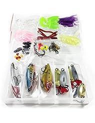 Kit Señuelo para Pesca 3 Señuelos Duros 6 Cucharillas 32 Señuelos de Vinilo 31 Pequeño Material