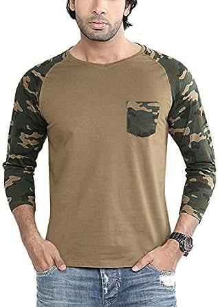 Difference Of Opinion Men's Regular Fit T-Shirt(Camouflagevneckraglan004, Green, Small)