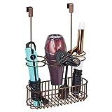 mDesign Fönhalter ohne Bohren – praktischer Haartrocknerhalter und Glätteisenhalter aus Metall mit Gitterbox – ideal zur Fön Aufbewahrung und Lockenstab Aufbewahrung – bronzefarben