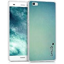kwmobile Funda para Huawei P8 Lite (2015) - forro de TPU silicona cover protector para móvil - Case Diseño Smile con corazón azul turquesa