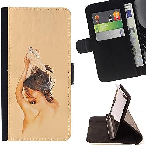 All Phone Most Case / Cellulare Smartphone cassa del cuoio della calotta di protezione di caso Custodia protettiva per SAMSUNG GALAXY J3 PRO // Brunette Girl - Brunette Girl