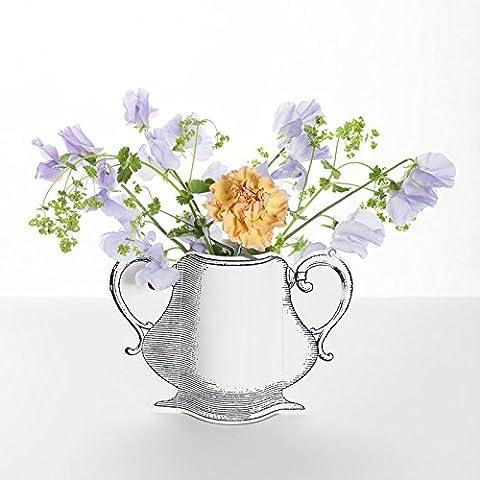 Vase en papier décoré, avec deux poignées D6