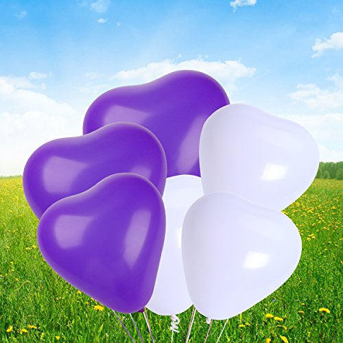 Achat NUOLUX 50pcs 10 Inch Coeur Latex Balloons Party Balloons Decoration Supplies (Blanc + Violet)