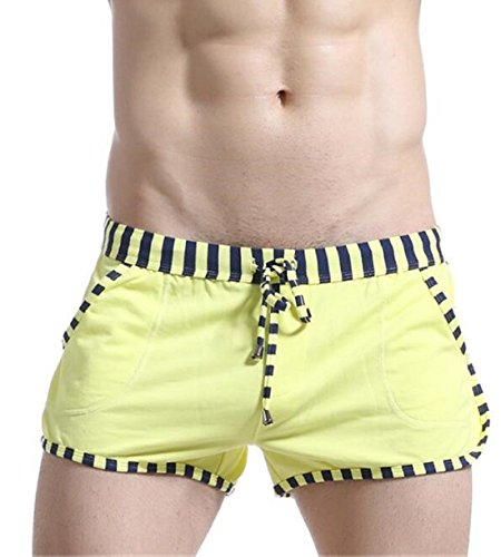 Men's Drawstring Loose Cotton Casual Shorts yellow