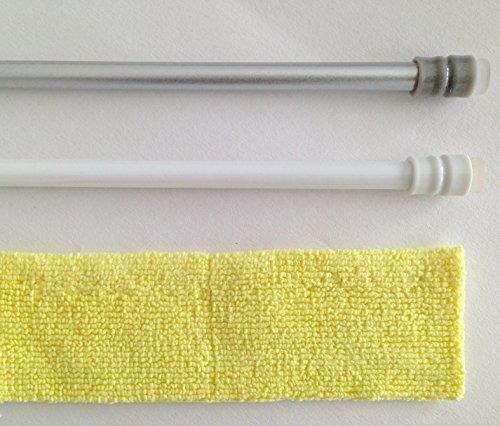 Efitex® Klemmstange für Gardinen, Bistrogardinen inkl Filumexclean Mikrofaser (60 - 90 cm, alu) Gardinenstange Mit Saugnapf