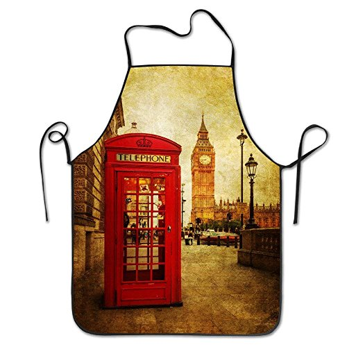 fengxutongxue London Phone Box Adjustable Apron for Kitchen BBQ Barbecue Cooking Chef Waitress Great Gift for Wife Ladies Men Boyfriend