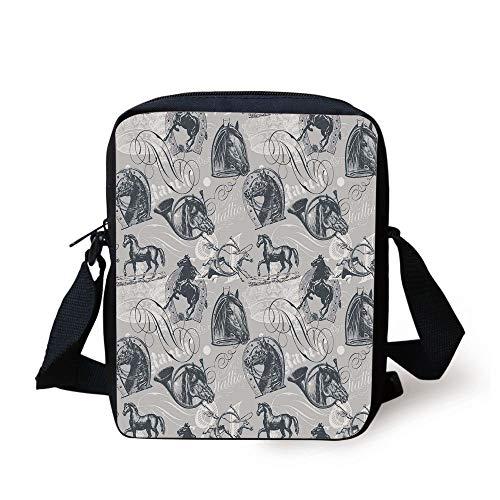 of Nostalgic Gentle Horses on Calligraphic Vintage Styled Background Home,Grey White Print Kids Crossbody Messenger Bag Purse ()