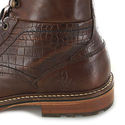 FB Fashion Boots Rehab Carl Croco Brown/Herren Schnürstiefel Braun/Urban Boots/Schnürschuhe Brown