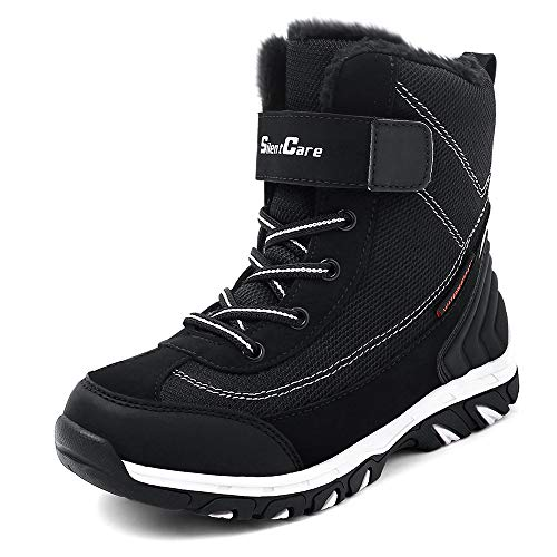 Kids Snow Boots Boys Girls Warm Winter Fur Boots Waterproof Non-Slip Shoes Walking Hiking Boots