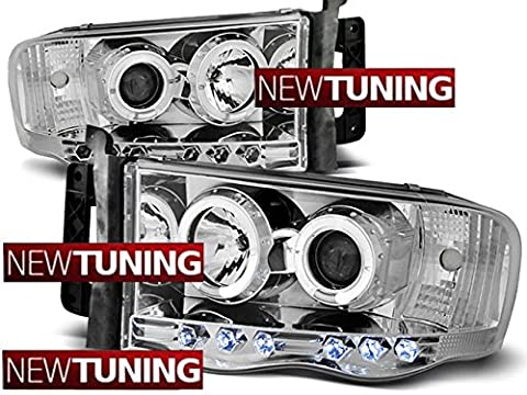 PHARES AVANT DODGE RAM 02-06 ANGEL EYES CHROME