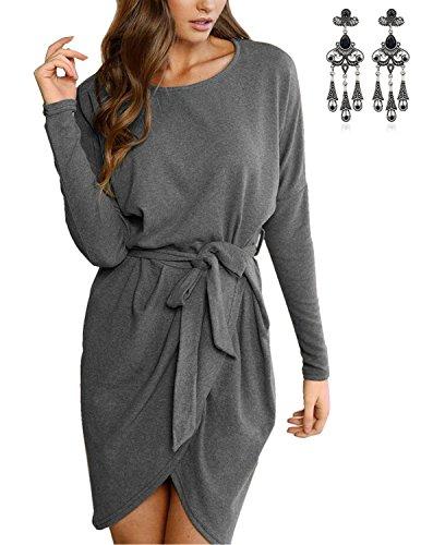 MODETREND Donna Vestiti Addensare Autunno Scamosciato Caldo Abito Con Cintura Hem Asimmetrico Bordo Irregolare Vestito Inverno Grigio