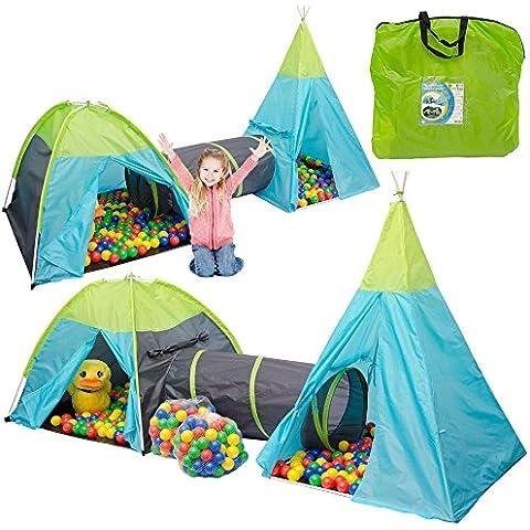 Tienda de campaña infantil POCAHONTAS Incl. túnel + 200 bolas de colores + bolsa | juego para niños ideal para casa y exteriores | ligera | plegable