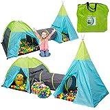 LittleTom Bällebad Spielzelt Set 200 Baby Bälle Kinderzelt 320x100x135cm Tunnel