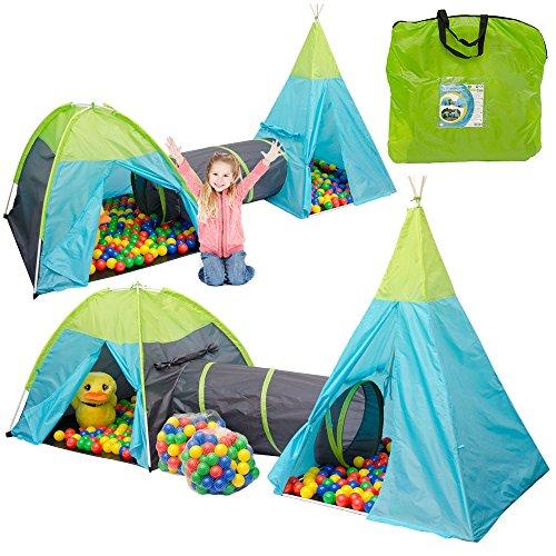 LittleTom Set Tiendas de campaña con Túnel 320x100x135cm Incl 200 Bolas...