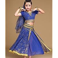 Disfraz de Danza del Vientre India Disfraz de Danza del Vientre Infantil para Mujer Disfraz de Actuación del espectáculo de Competencia Rosa/Rojo/Azul, l, Blue