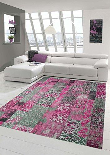 Moderner Teppich Designer Teppich Orientteppich Wohnzimmer Teppich mit Karo Muster in Pink Grau Lila Größe 120x170 cm
