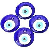 SUPVOX Ciondolo malocchio 4 pezzi, eyetalisman blu fortunato, perline malocchio per bracciale stringato macrame con decorazio