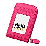 Hibate RFID Block Leather Credit Card Holder Case Women Wallet Travel Organizer - Pink