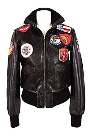 Ladies TOP GUN Black BOMBER Pilot Aviator Real Lambskin Leather Women's Jacket (14)