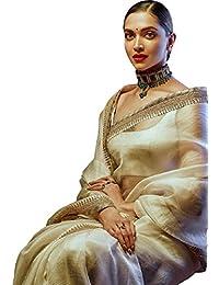 Swara Fashion Women's Chanderi Silk Dori Work Saree(SFP-570_White)