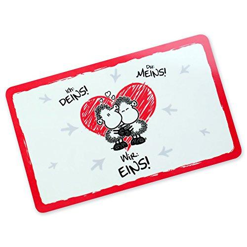 Sheepworld 45187 Schneidebrett mit Motiv Ich Deins, Du Meins, Wir Eins, Resopal, Geschenkbrettchen mit Liebesmotiv