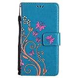 LG G5 Hülle Leder, Lomogo Schutzhülle Brieftasche mit Kartenfach Klappbar Magnetverschluss Stoßfest Kratzfest Handyhülle Blumenprägung Case für LG G5 (H850) - HOHA23244 Blau