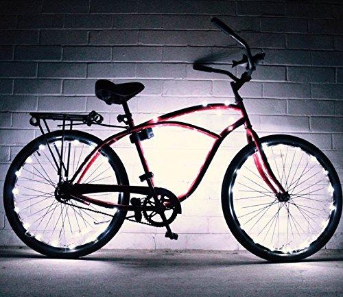 le Fahrrad-LED-Lichterkette, verschiedene Farben, Fahrradreifen-Accessoires, Burning-Man-Zubehör, 2er-Pack , weiß ()