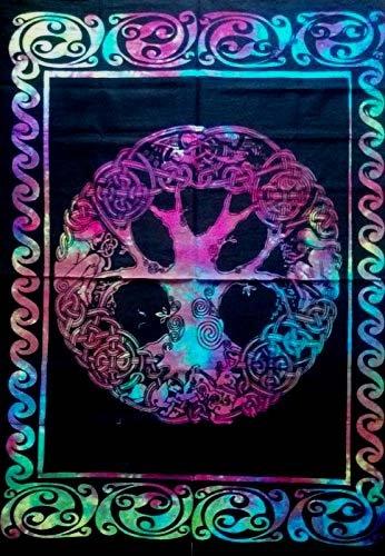 Multicolor Tie Dye Keltischer Baum des Life kleine Tapisserie indischen, Wandbild, Überwurf, aus Baumwolle Poster Yoga Matte