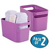 mDesign Badezimmer Aufbewahrungsbox – Bad Organizer für Shampoo, Handtücher, Parfüm etc. – auch zur Kosmetik Aufbewahrung geeignet – lila