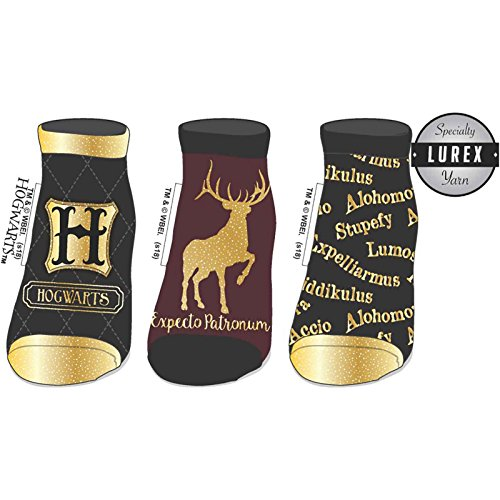 Harry Potter Socks Advanced Wizardry Hogwarts logo Official womens Ankle 3 Pack One Size