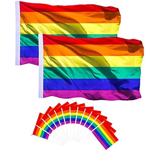 AhlsenL 2er-Pack Gay Pride Flagge, Regenbogen-Flagge, helle Farbe, UV-beständig, mit 12 Stück Stickerei, Festival-Flagge, Karnevals-Flagge, 2 Stück
