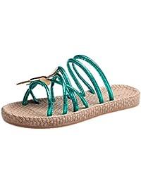 Longra Donna Bohemia confortevole sandali di grandi dimensioni (EU Size:36, Blu)