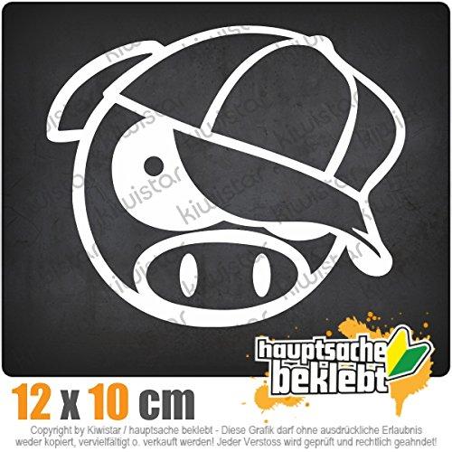 schwein-mit-bascap-13-x-11-cm-IN-15-FARBEN-Neon-Chrom-Sticker-Aufkleber