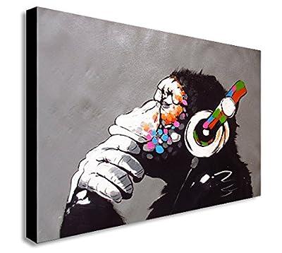 Banksy Dj Monkey Gorilla Chimp Canvas Wall Art Print Various Sizes - inexpensive UK light shop.