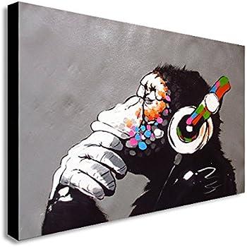 banksy dj monkey canvas wall art print various sizes a1 32x24inch