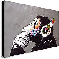 Lienzo de impresión con mono DJ, marca Bansky, madera, A1 32X24inch